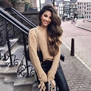 Lace Up Sleeve Knit Tan Sweater